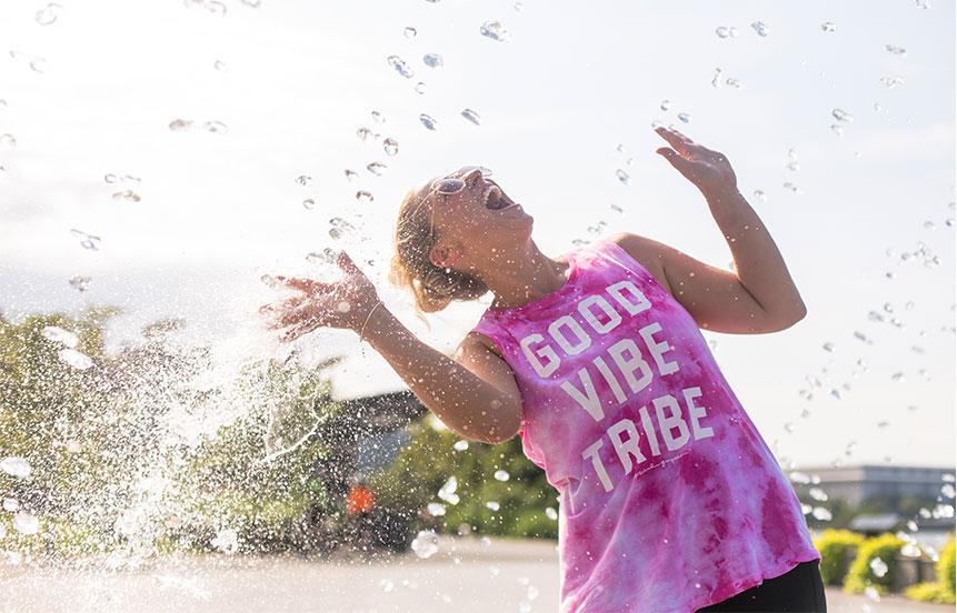 Rebecca in a fountain