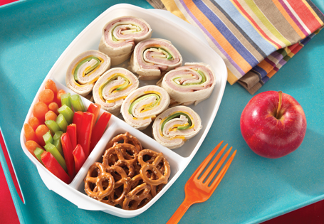 Kids lunchbox with deli roll up sandwich