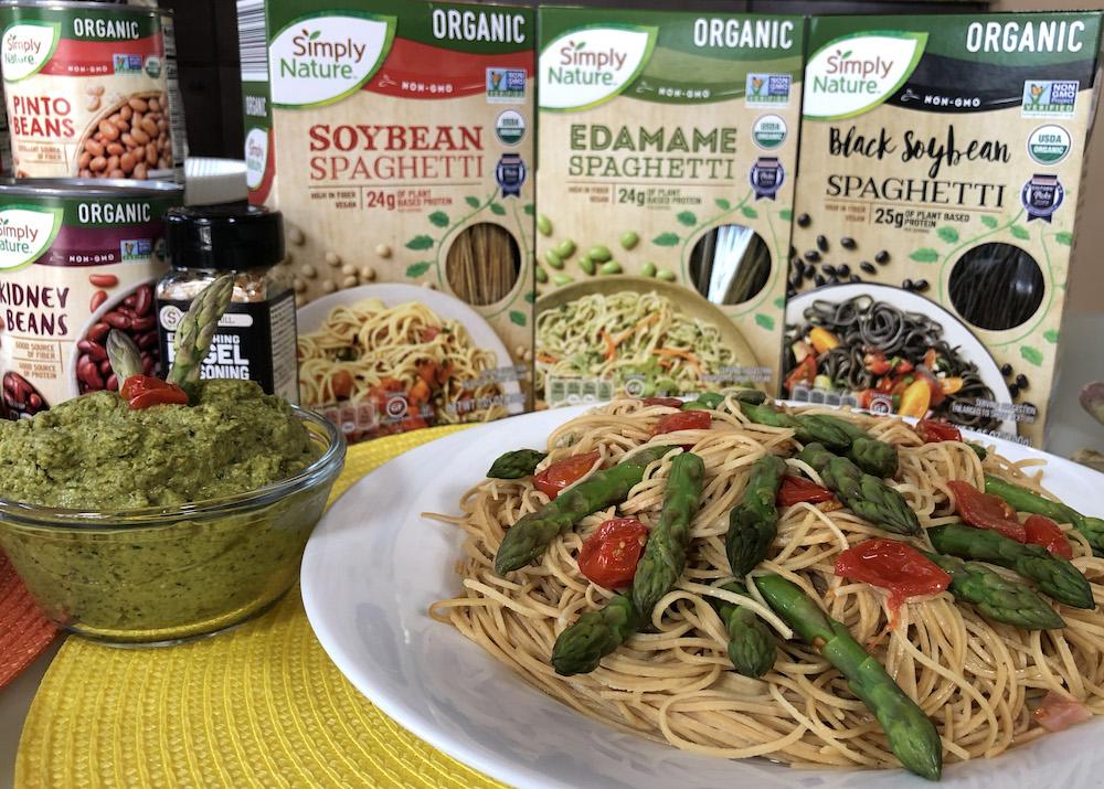 Asparagus Pesto Pasta with Soybean Spaghetti